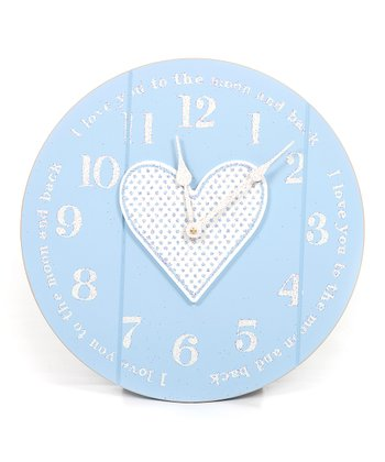 Blue 'I Love You to the Moon' Clock