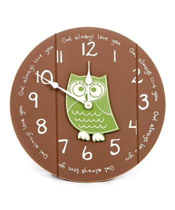 Brown & Gator Green Owl Clock