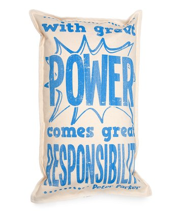Blue 'Great Power' Pillow