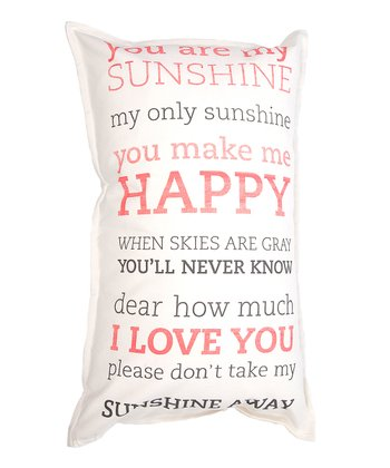 Pink & Gray 'You Are My Sunshine' Pillow