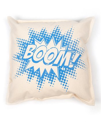 Blue 'Boom!' Pillow