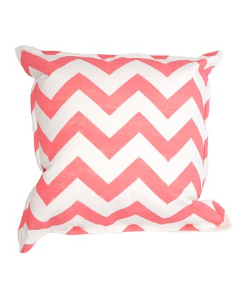 Pink & White Zigzag Pillow