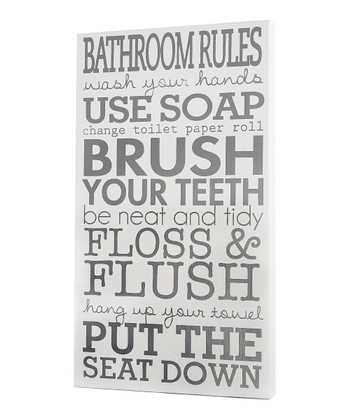 White 'Bathroom Rules' Wall Art