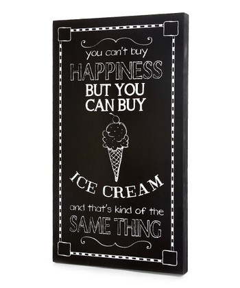 Black 'You Can't Buy Happiness' Ice Cream Wall Art