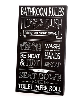 Black & White 'Bathroom Rules' Wall Art