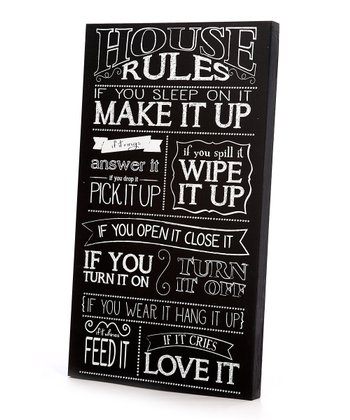 Black & White 'House Rules' Wall Art
