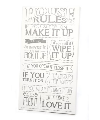 White & Gray 'House Rules' Wall Art