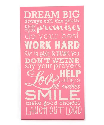 Pink 'Dream Big' Wall Art
