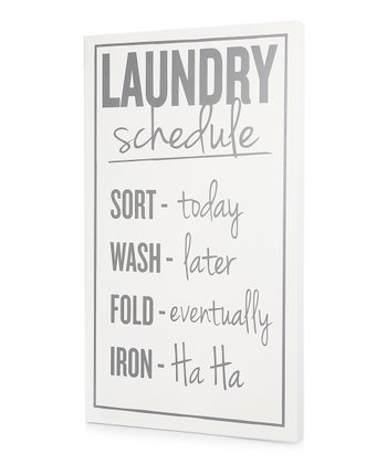 White 'Laundry Schedule' Wall Art