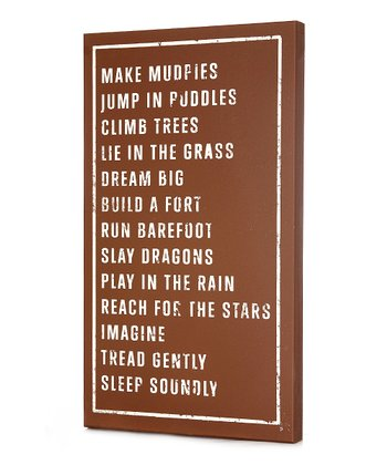 Brown 'Make Mudpies' Wall Art