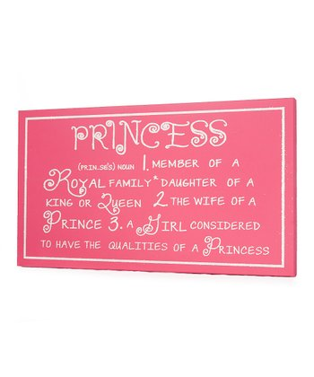 Pink 'Princess' Definition Wall Art