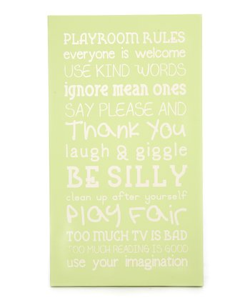 Green 'Playroom Rules' Wall Art