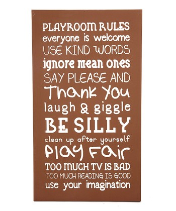 Brown 'Playroom Rules' Wall Art
