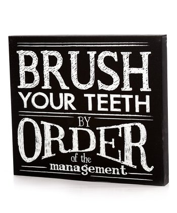 Black & White 'Brush Your Teeth' Wall Art