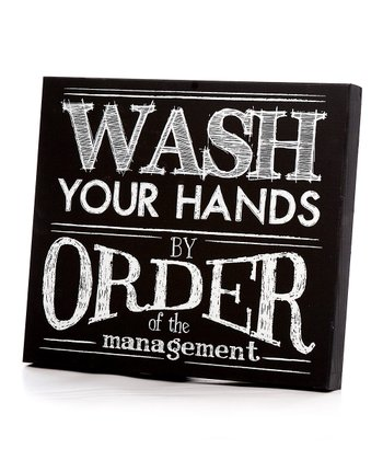 Black & White 'Wash Your Hands' Wall Art