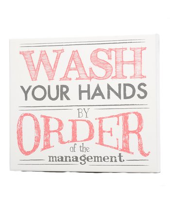 Pink & Gray 'Wash Your Hands' Wall Art