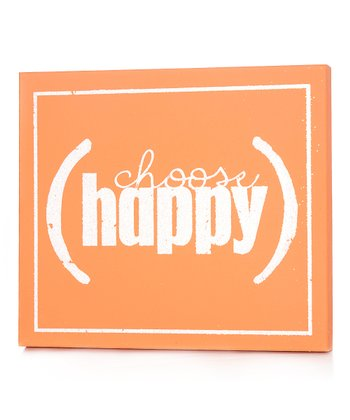 Orange 'Choose Happy' Wall Art