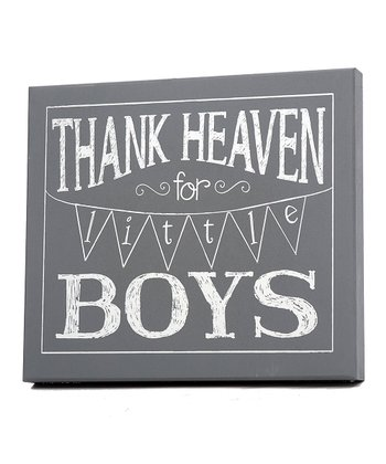 Gray & White 'Thank Heaven for Little Boys' Wall Art