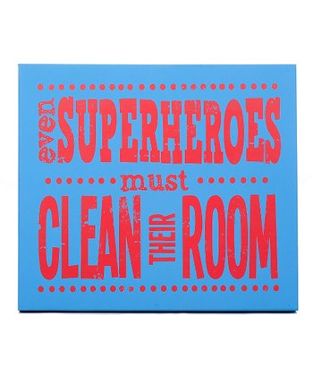 Blue & Red 'Even Superheroes Must Clean' Wall Art