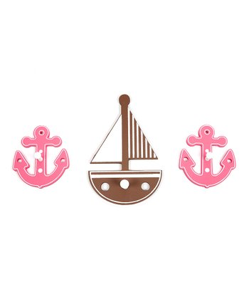 Brown Sailboat & Anchor Wall Hook Set