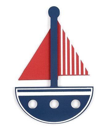 Navy & Red Sailboat Wall Art