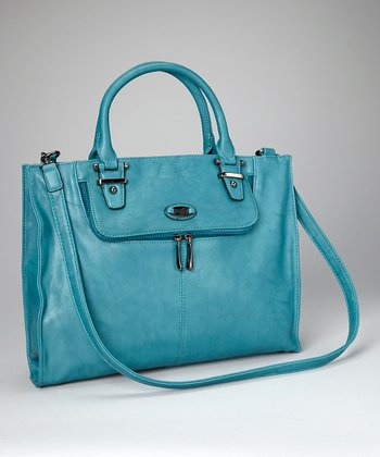 Peacock Blue Divided Classic Tote
