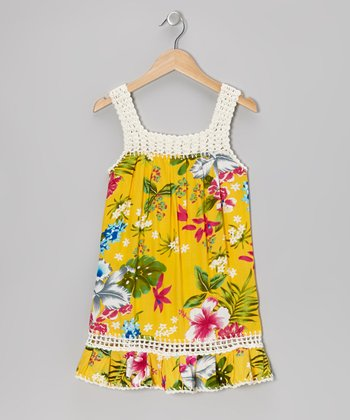 Yellow Tropical Coral Dress - Girls