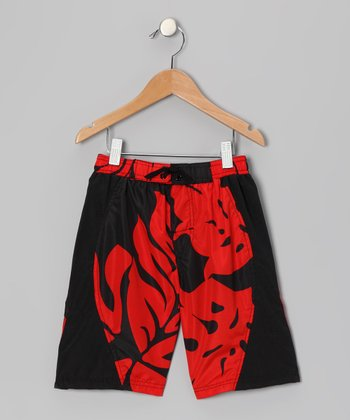 Red Honolulu Swim Trunks - Boys