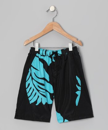 Turquoise & Black Honolulu Swim Trunks - Boys