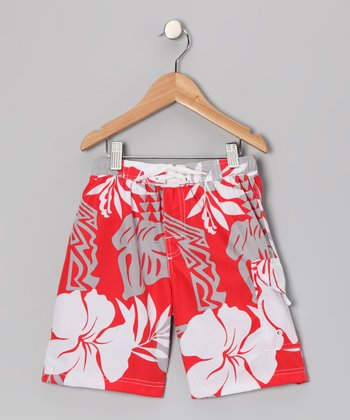 Red Reef Swim Trunks - Boys