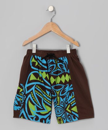 Turquoise Beach Walk Swim Trunks - Boys