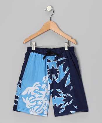 Navy Beach Walk Swim Trunks - Boys