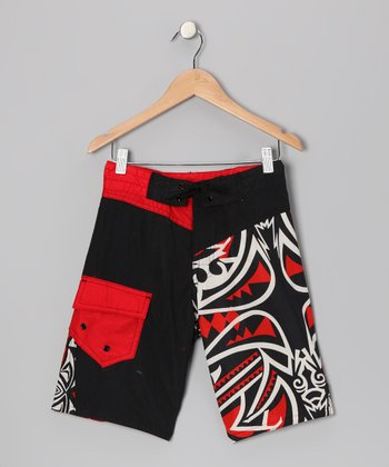Red Wipeout Boardshorts - Boys