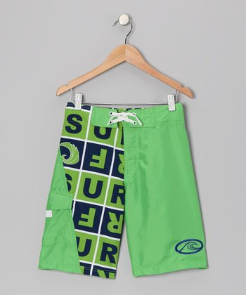 Green & Navy Island Stoke Boardshorts - Boys