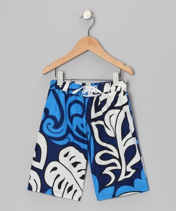 Navy Swell Swim Trunks - Boys