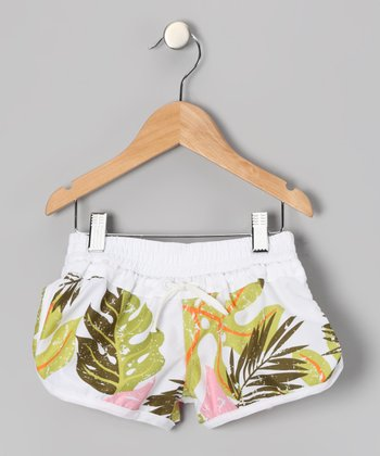 Pink Tropical Fern Volleyball Shorts - Girls