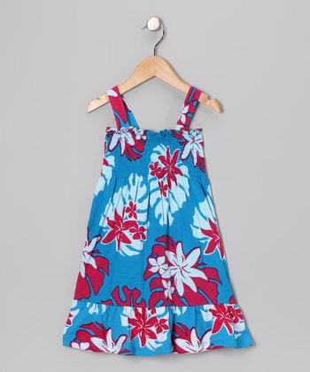 Blue & Pink Dafney Dress - Girls