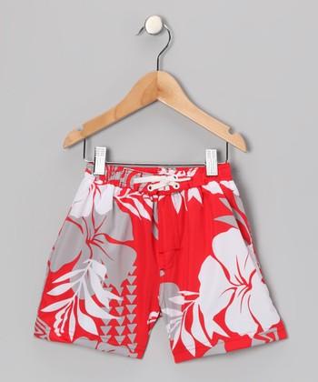 Coral & Reef Red Kalihi Swim Trunks - Toddler