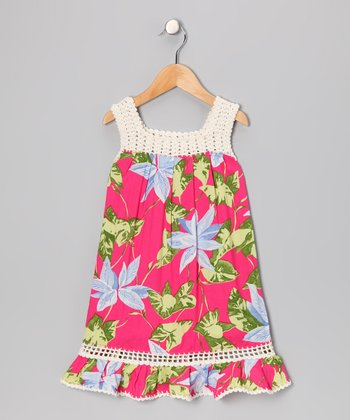 Bright Pink Coral Dress - Girls