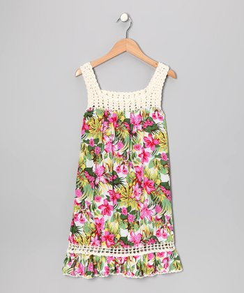 Tropical Pink Coral Dress - Girls