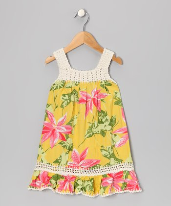 Yellow Tropical Coral Dress - Toddler