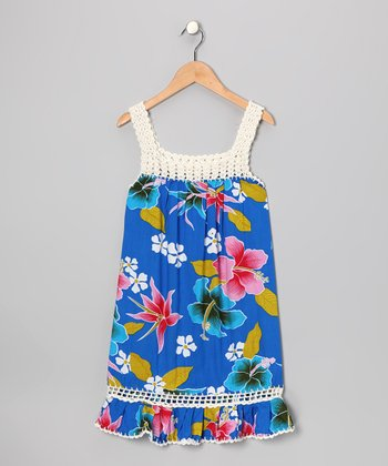 Blue Floral Coral Dress - Girls