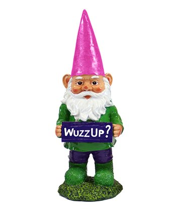Navy Blue 'Wuzz Up?' Gnome Figurine