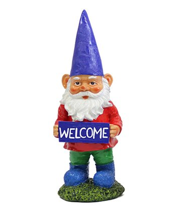 Blue 'Welcome' Gnome Figurine