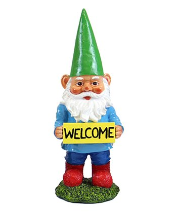 Yellow 'Welcome' Gnome Figurine