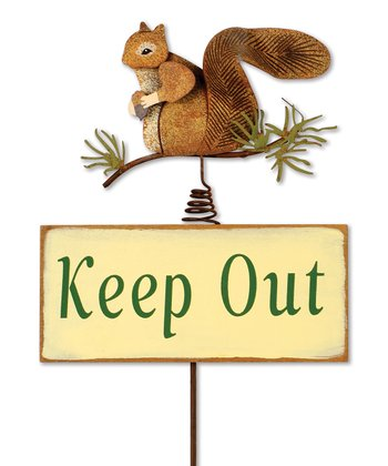 'Keep Out' Squirrel Yard Stake