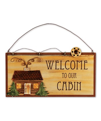 'Welcome to our Cabin' Hanging Sign