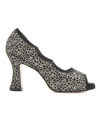 Black Floral Margaux Peep-Toe Pump