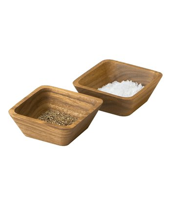 Square Acacia Pinch Bowl - Set of Two