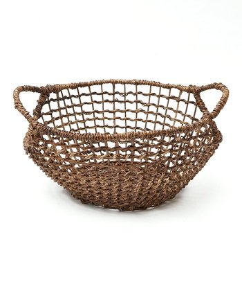 Brown Abaca Open Weave Basket